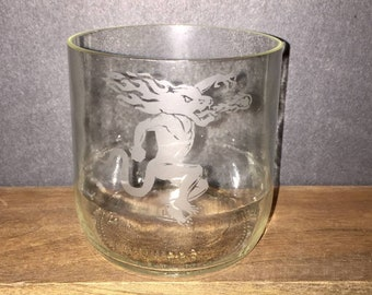 Fireball Whiskey Glasses made from Recycled Bottles-- Handmade, Custom Whiskey Glasses Upcycled Glassware