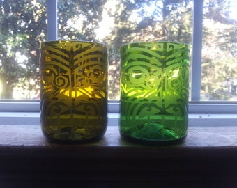 Set of Two Tiki Glasses-- Upcycled Wine. Glasses Glassware repurposed from Wine Bottles