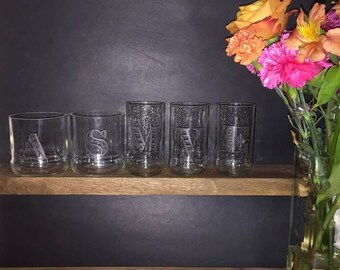 Etched Glassware made from Recycled Beer Glasses-- Handmade, Unique Gift Wine Glass Beer Glass!