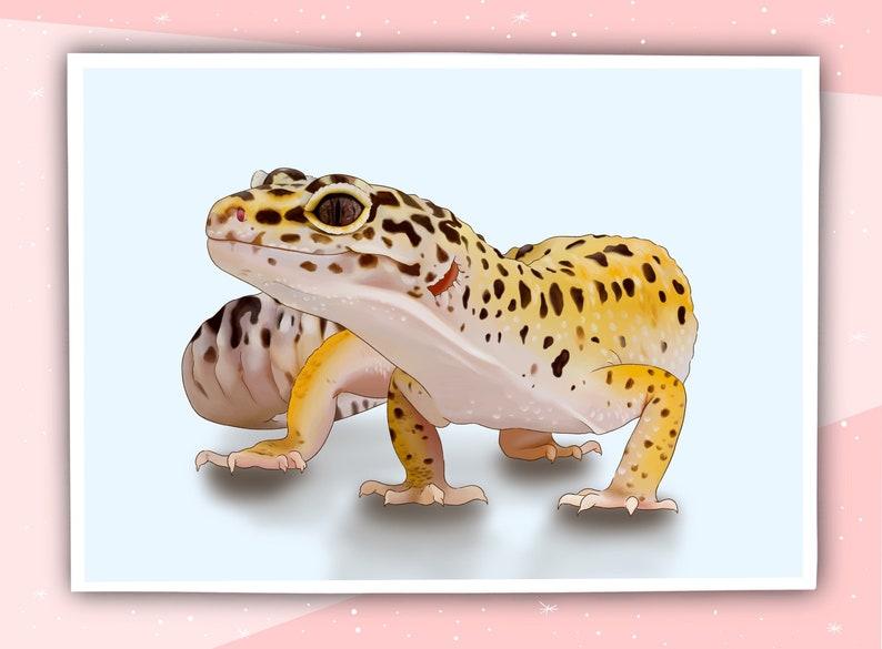Leopard Gecko Art Print  A3A4A5A6  Digital Art  Illustration  Hand Drawn