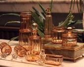 Baccarat Antique Art Deco (1916) Boudoir Set (10 pieces) Amber Rose Crystal Glass