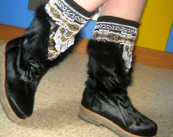 Sheepskin Winter very low temperature Russian Mukluk Boots Leather Hunter