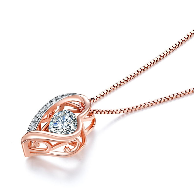 6.5mm Created Diamond Dancing Stone Heart Pendant Necklace Solid 925 Sterling Silver Rose Gold Plated Best friend gifts Heart Necklace