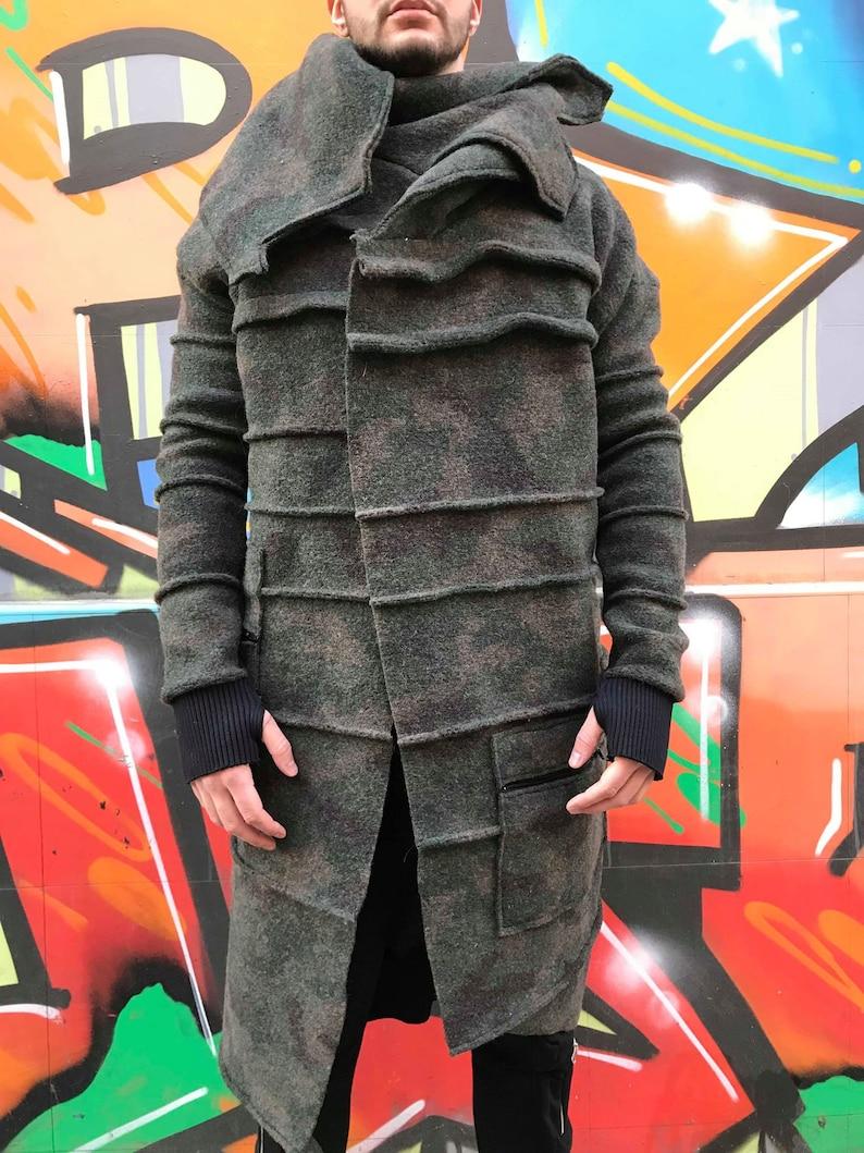 ConceptBG Men\u2019s Designer Outerwear Military Men/'s Coat Asymmetric Coat Handmade Men/'s Jacket Long Sleeve Coat Men Cardigan