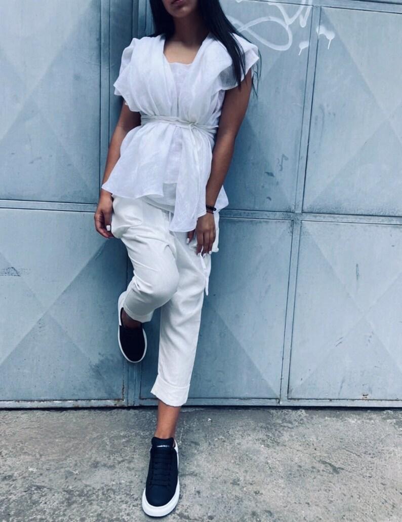 Cut Out Blouse ConceptBG Designer Blouse White Women Top Casual Blouse Extravagant Women Shirt Linen Shirt