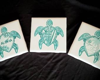 Turtle Aloha Ceramic Coasters