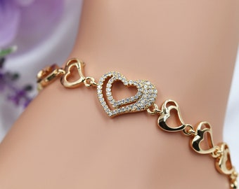 Romantic Bracelet Gift Bridal Bracelet Friendship Bracelet Sparkling Bracelet Zircon Crystals Tennis Bracelet Simple Gold Bracelet