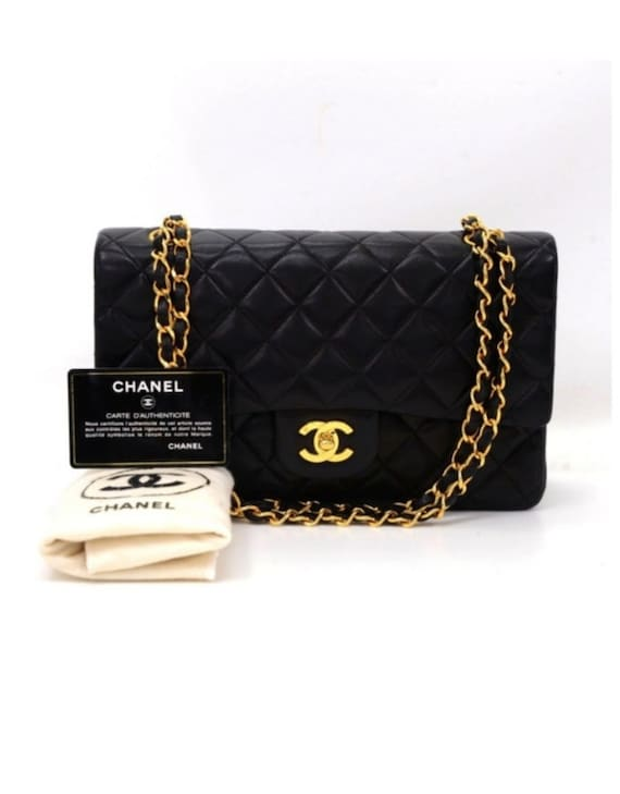 Chanel Classic Chanel 3.55 Caviar Leather Bag With Gold Hardware. This Bag Comes With Dust Bag And Authenticity Card. by Etsy