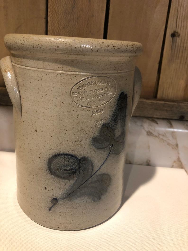 Vintage Rockdale Salt Glazed Union Stoneware Pottery Hand painted blue