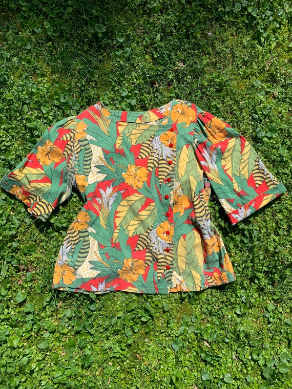 Vintage 1970's Blouse from 1940's Fabric, Exotic T