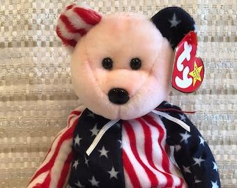 TY BEANIE BABY BABIE SPANGLE AMERICAN STARS AND STRIPES TEDDY BEAR PINK HEAD