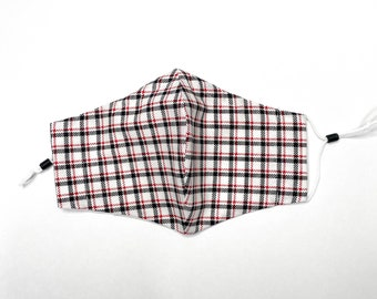 Reusable Cotton Face Mask w/ Nose Wire & Filter Pocket | White and Red Plaid