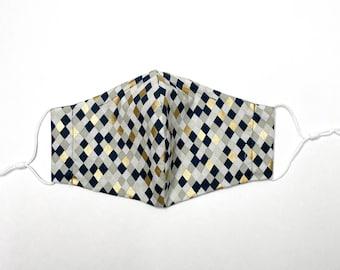 Reusable Cotton Face Mask w/ Nose Wire & Filter Pocket | Navy Diamonds