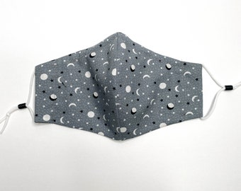 Reusable Cotton Face Mask w/ Nose Wire & Filter Pocket | Moon and Stars