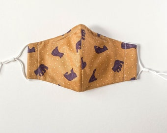 Reusable Cotton Face Mask w/ Nose Wire & Filter Pocket | Bears