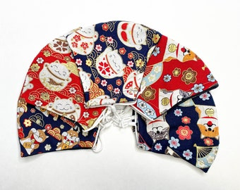 Cotton Face Mask with Nose Wire, Filter Pocket, and Adjustable Toggles, Triple layered   Dogs & Cats   Shibe, Maneki-Neko, Neko, Shiba Inu