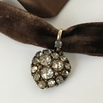 1800s antique Victorian old cut diamond paste heart pendant with both velvet ribbon and chain necklace