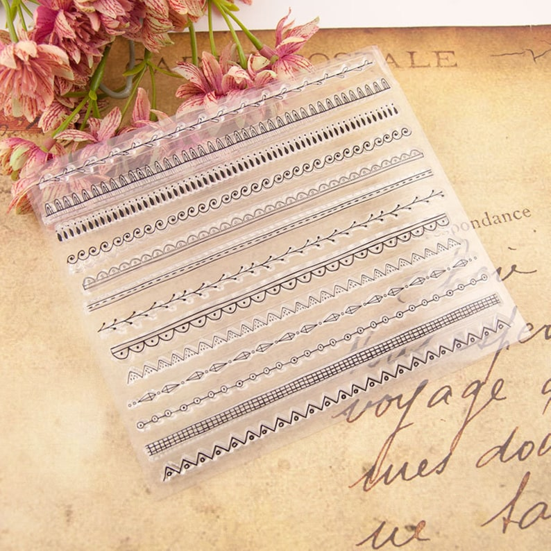Classic Contracted  Lines Lace Stamp kit Clear Rubber Stamps  Planner Journal Scrapbook Decoration DIY