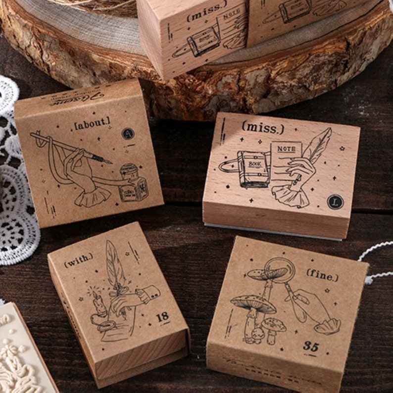Retro Quill Stamp for Cardmaking Scrapbooking Album Journal Diary 4 Style DIY
