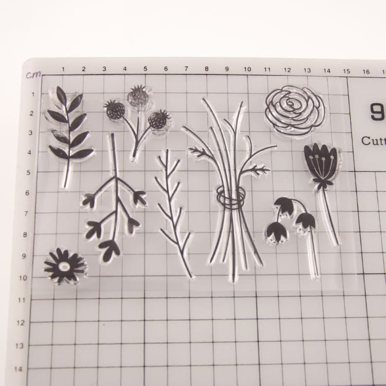Bullet Journal Scrapbooking Clear Floral Stamps Set Diary Filofax Stamp DIY Card Making