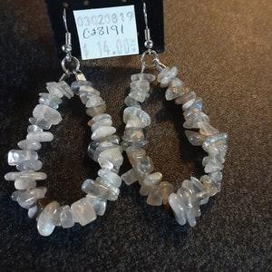 Brown Grey Botswana Agate Gemstone Chip Hoop Earrings 25mm
