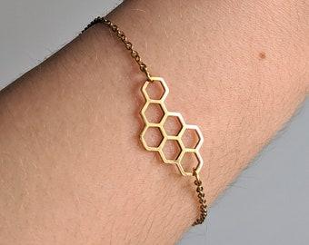 Geometrical Hexagon 925 Sterling Silver Hexagon Bracelet Geomatric Bracelet Bracelet Hexagon Jewelry Hexagon Minimalist Boho Bracelet