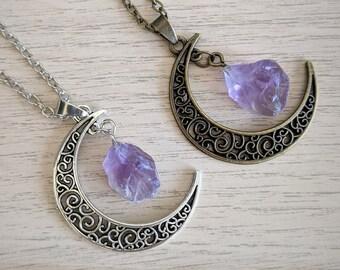 Gemstone Moon Necklace | Moon Necklace, Moon Jewellery, Crescent Moon Astrology Gemstone Jewelry, Amethyst Rose Quartz Citrine Gift Idea
