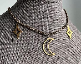 witchy choker Gothic choker goth choker Wicca witch choker witchy jewelry Fang necklace Wiccan Jewelry black jewelry grunge choker