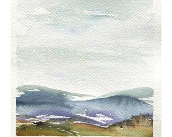 Wachusett View No Medium Abstract Landscape 1 Original Watercolor