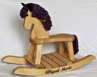 Personalized wooden rocking horse