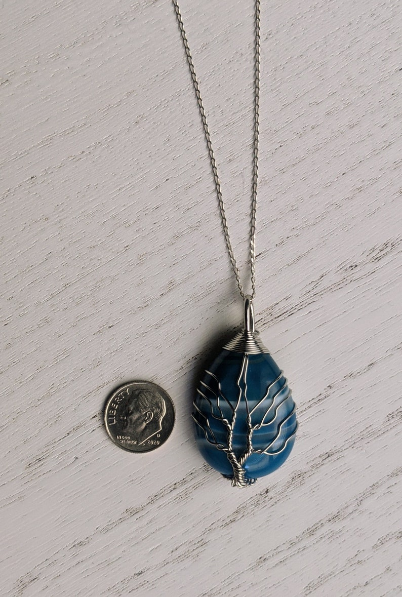 Sterling silver blue agate wire wrapped tree of life necklace