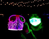 Pack of 2 - LED Face Masks 7-Color Changing, Light Up Face Mask, Glow in the Dark Mask, Fiber Optic Mask, FREE Shipping