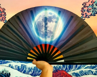 Pink Sacred Art and Dance Large Bamboo Hand Fan for Festivals Raves