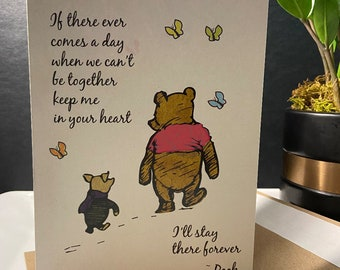 Winnie the Pooh goodbye card gone from sight quote card