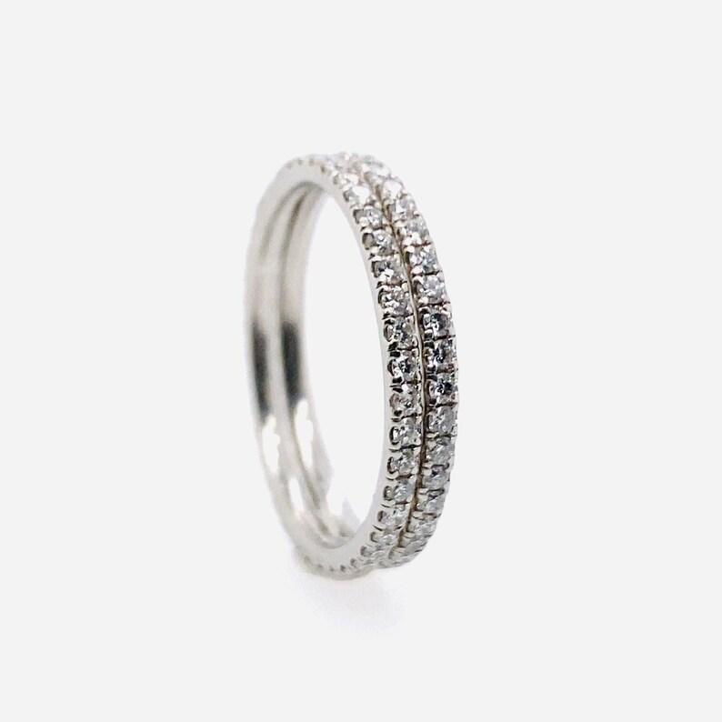Double Eternity Diamond Band Twin Ring 14k White Gold Full Covered Diamond U Pave Setting Style 0.80Ct diamond Stacking Ring Woman gift idea