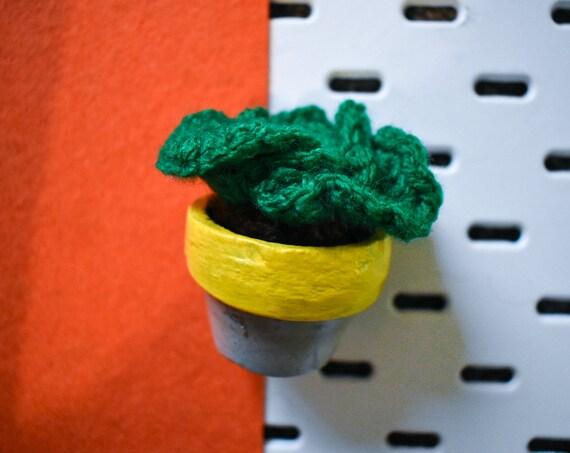 Small Crochet Brain Cactus/Succulent - Bright/Dark/Olive Green - Yellow Concrete Pot