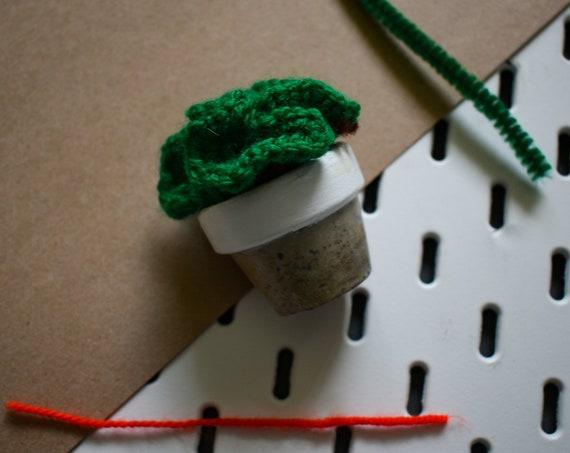 Tiny Crochet Brain Cactus - Handmade - Concrete Terracotta Pot