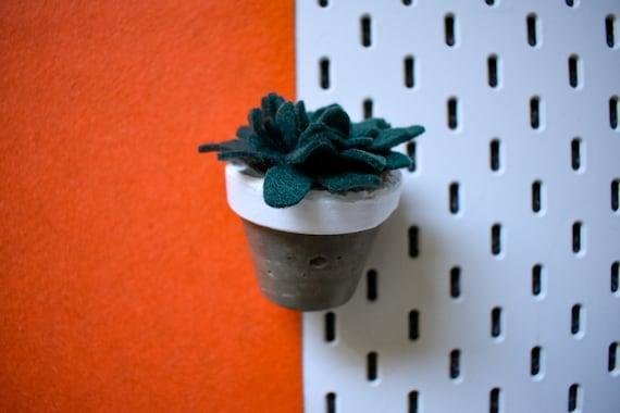 Large Felt Succulent - Bright/Dark/Grass Green - White Concrete Pot
