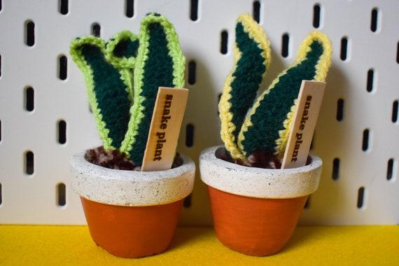 Crochet Snake Plant/Sansevieria - Handmade - Amber Jesmonite Pot