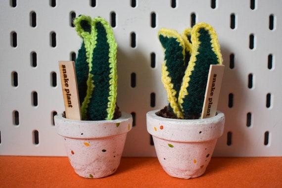 Crochet Snake Plant/Sansevieria - Handmade - Speckled Jesmonite Pot