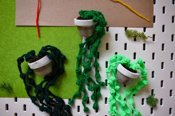 Handmade Crochet Succulent Plant - String of Pearls - White Concrete Pot