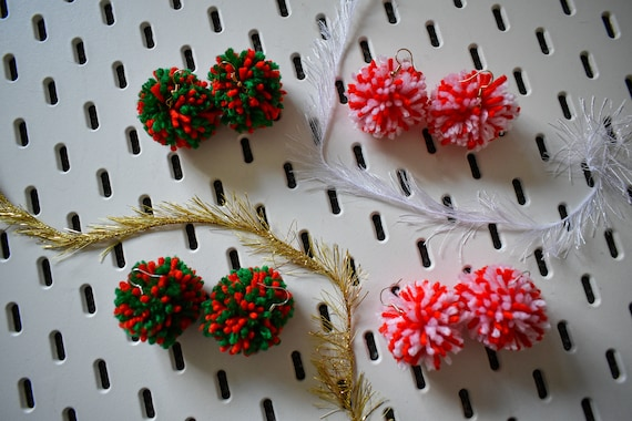 Christmas Holiday PomPom Earrings - Sterling Silver and Plated Gold - Handmade