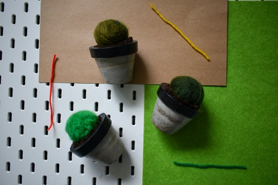 Medium Felted Barrel Cactus - Hand Dyed - Black Concrete Pot