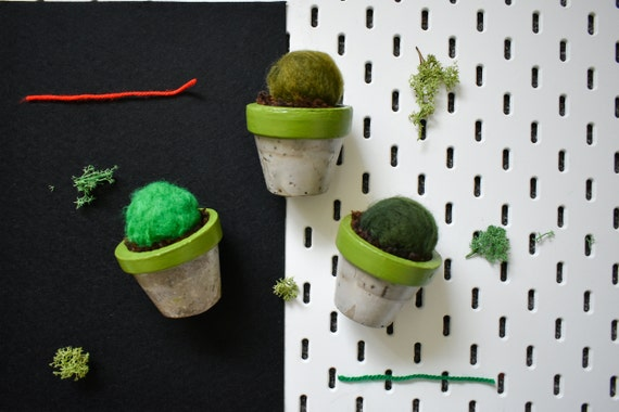 Medium Felted Barrel Cactus - Hand Dyed - Green Concrete Pot