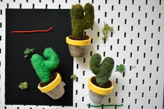 Handmade Felted Saguaros - Hand Dyed - Yellow Concrete Pot