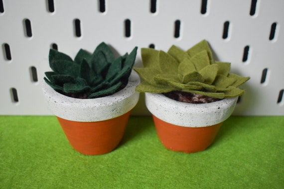 Large Felt Succulent - Bright/Dark/Grass/Olive Green - Amber Jesmonite Pot