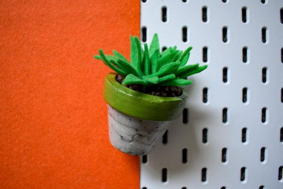 Large Felt Succulent - Bright/Dark/Grass Green - Green Concrete Pot