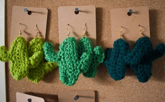 Crochet Saguaro Cactus Novelty Drop Earrings - Seconds/Imperfect