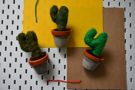Handmade Felted Saguaros - Hand Dyed - Amber Concrete Pot