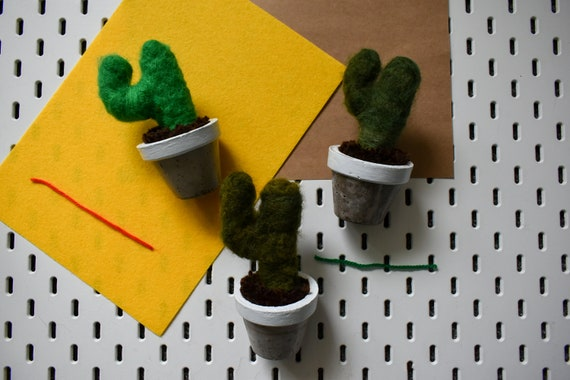 Handmade Felted Saguaros - Hand Dyed - White Concrete Pot